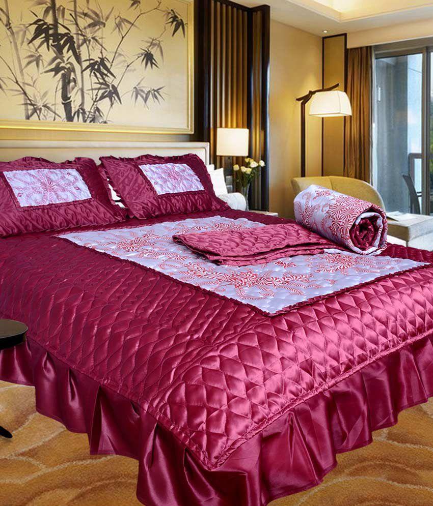 Pink bed sheet design - El Sandlo Urban Style Pink Satin Designer Double Bed Wedding Bedsheet Set Of 4 Pcs