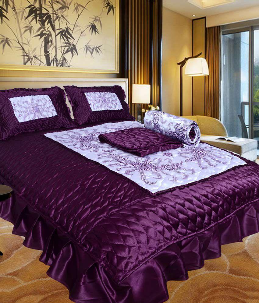 El Sandlo Urban Style Purple Satin Designer Double Bed Wedding Bedsheet    Set Of 4 Pcs ...