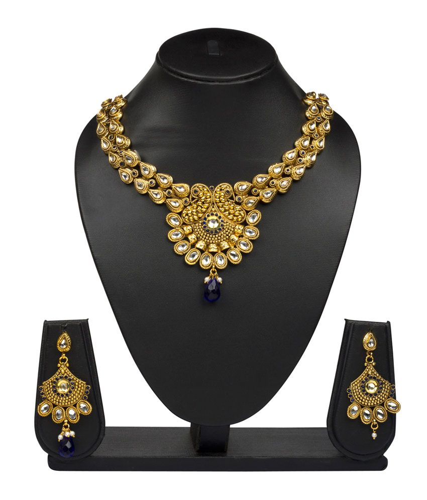 Vk Jewels Kundan Designer Gold Plated Necklace With Earrings