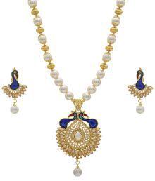 Hyderabad Jewels Wonderful White & Blue Necklace Set