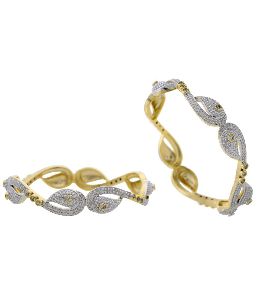 ecc89159b7bc03 Hyderabad Jewels Silver Partywear Bangle Set Of 2: Buy Hyderabad Jewels  Silver Partywear Bangle Set Of 2 Online in India on Snapdeal