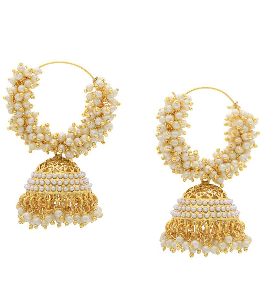 Hyderabad Jewels White Golden Hoop Earrings
