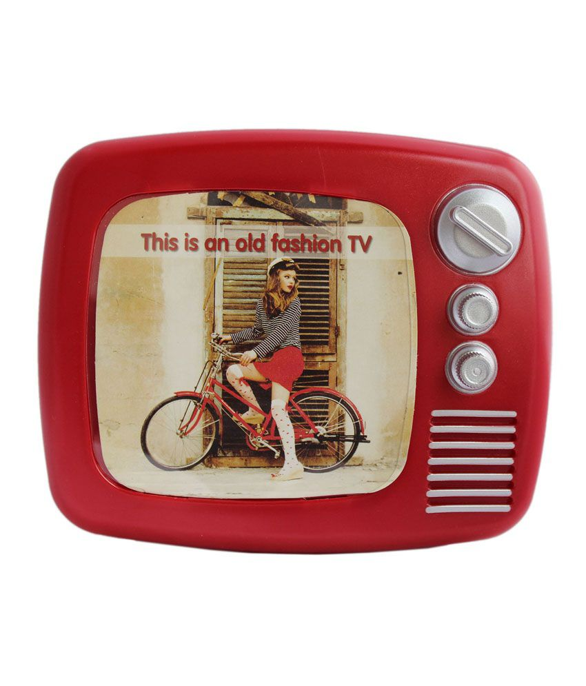 tootpado retro style tv with photo frame coin piggy kiddy savings money bank red buy. Black Bedroom Furniture Sets. Home Design Ideas