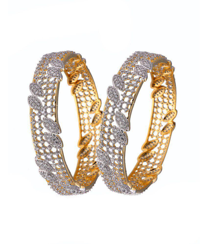 Alysa Bridgette Gold & Rhodium Plated American Diamond Bangles - Set Of 2