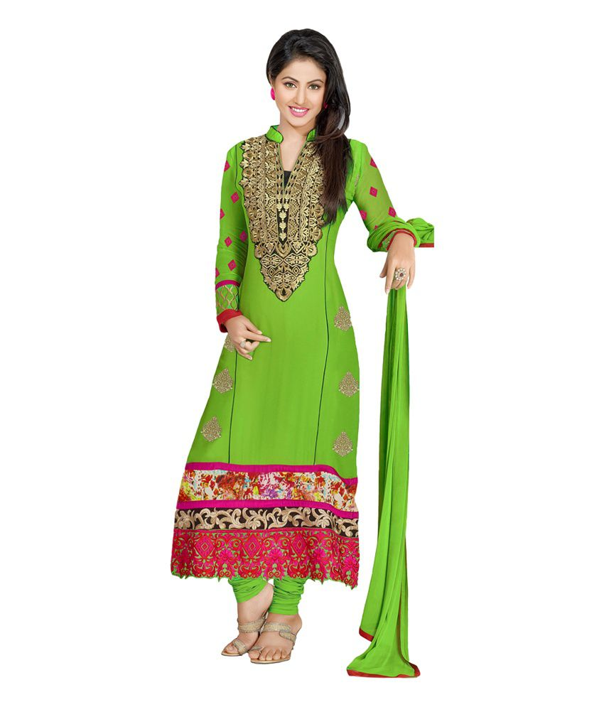Atisundar Atisundar Green Embroidered Faux Georgette Dress Material