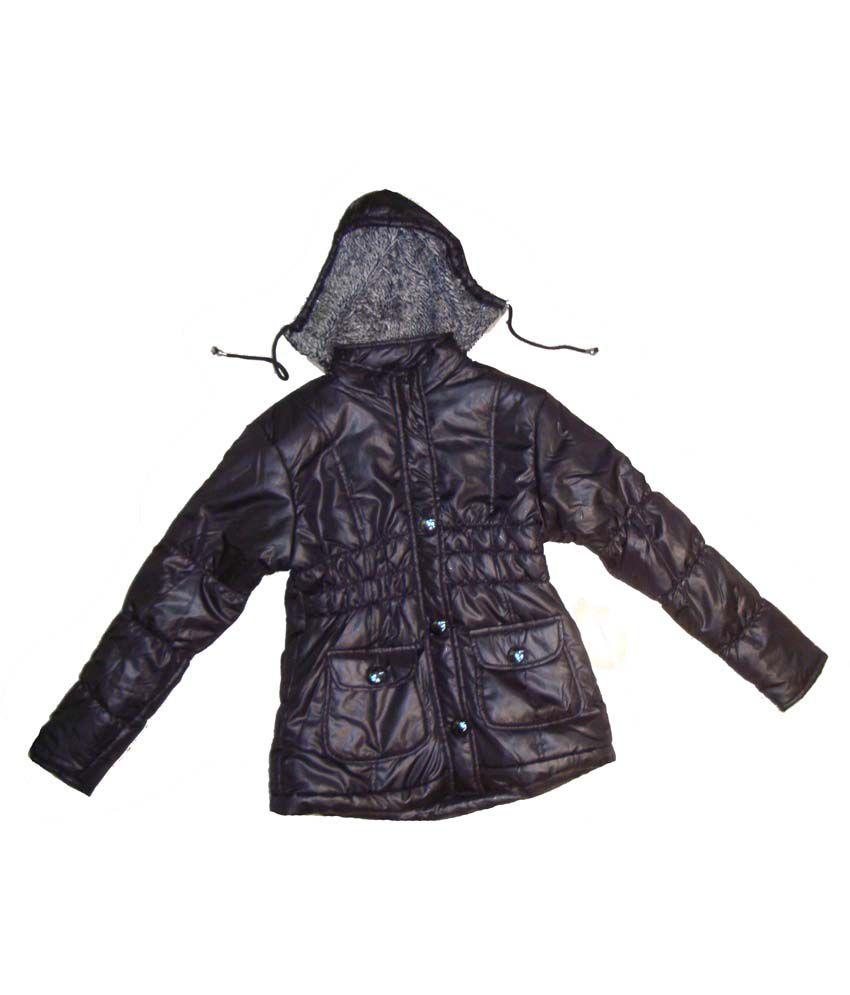 Bodingo Black Synthetic Full Sleeve Padded Jacket For Girls