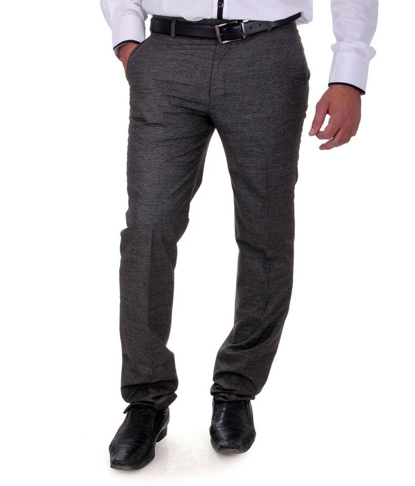 Cobb Gray Poly Viscose Flat Men Trousers