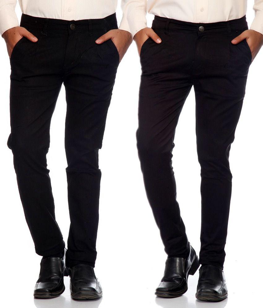 Haltung Black & Brown Cotton Blend Trousers