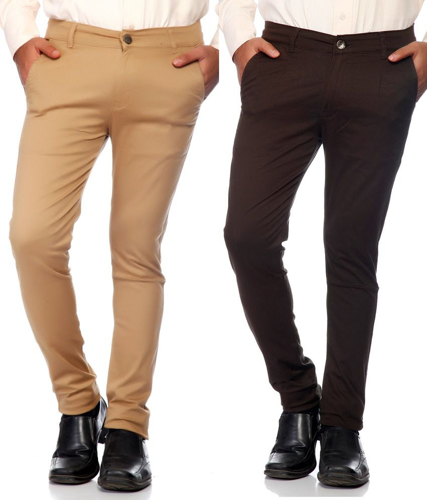 Haltung Beige & Brown Cotton Blend Trousers