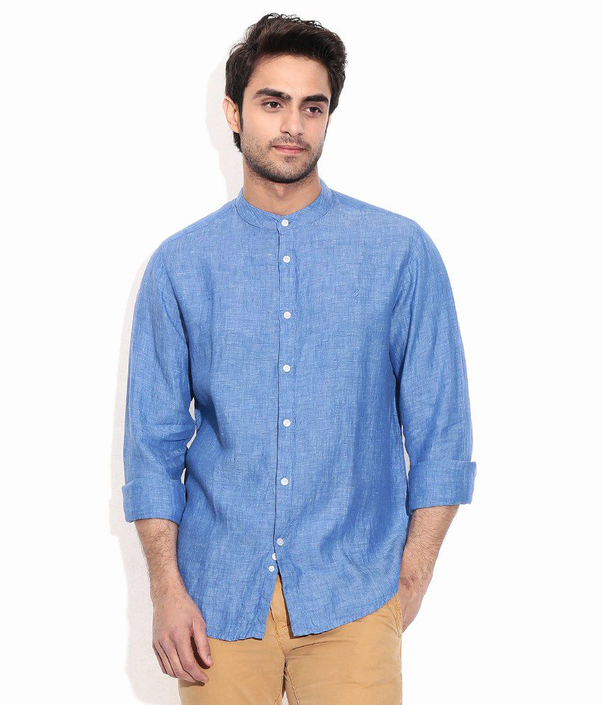 d56fc34638 Indian Terrain Blue Linen Solids Casuals Men S Shirt - Buy Indian Terrain  Blue Linen Solids Casuals Men S Shirt Online at Best Prices in India on  Snapdeal