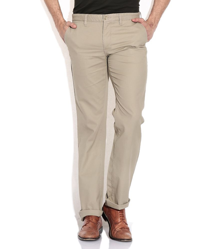 Indian Terrain Green Cotton Regular Casuals Chinos