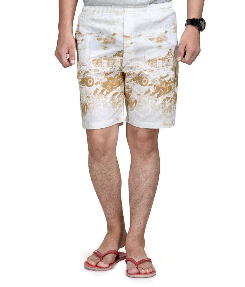 Macoro Cotton Smart White Dark Brown Shorts