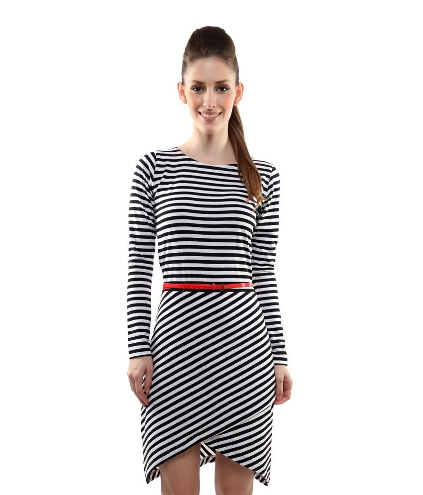 Miss Chase Black Cotton Mini striped Dresses For Women Full Sleeve Round Neck Casual