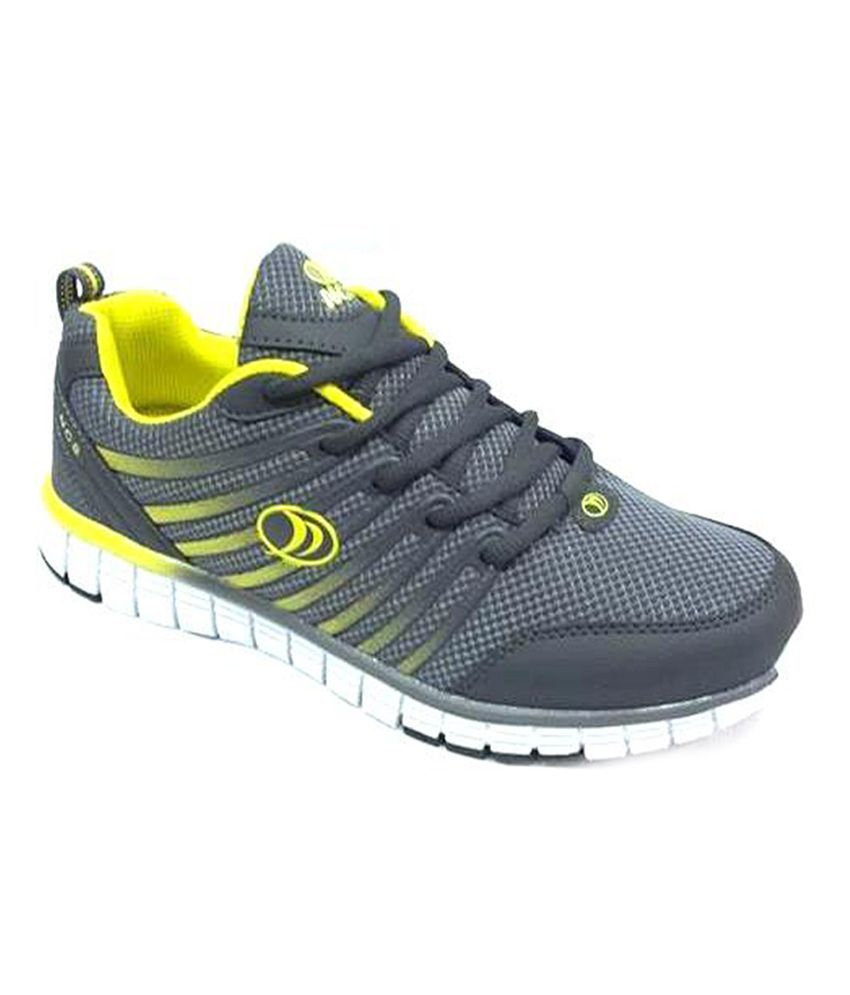 Ncs Gray Synthetic Leather Running Sport Shoes For Men