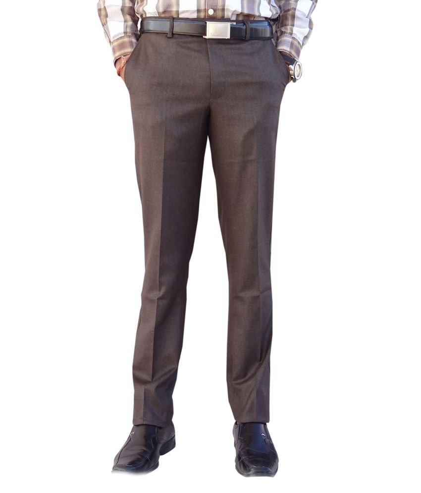 AD & AV Brown Poly Viscose Flat Slim Fit Formal Trouser