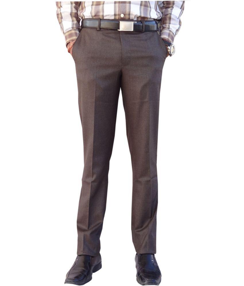 AD & AV Brown Viscose Flat Casual Trouser For Men