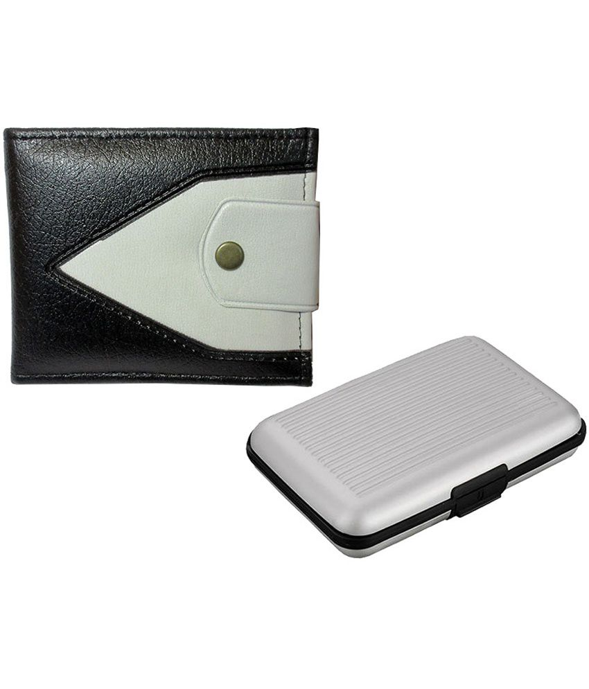Apki Needs Stylish And Designer Dual Colored Mens Wallet & Silver Colored Credit Card Holder Combo