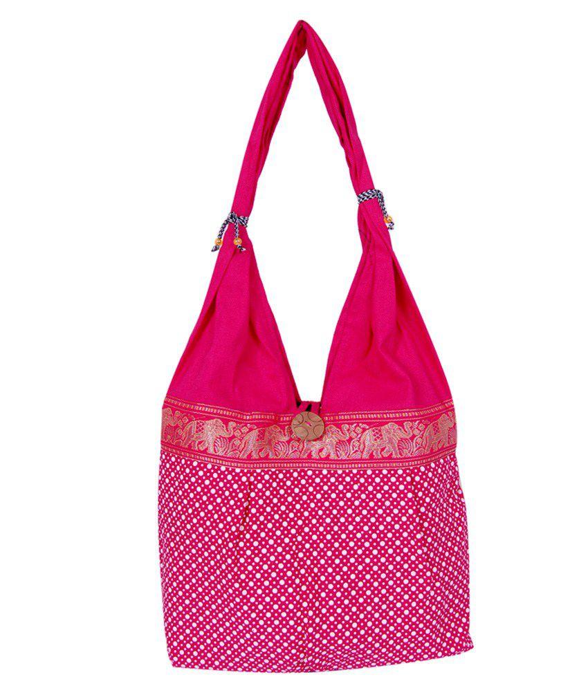 Womaniya Pink Canvas Cloth Jhola