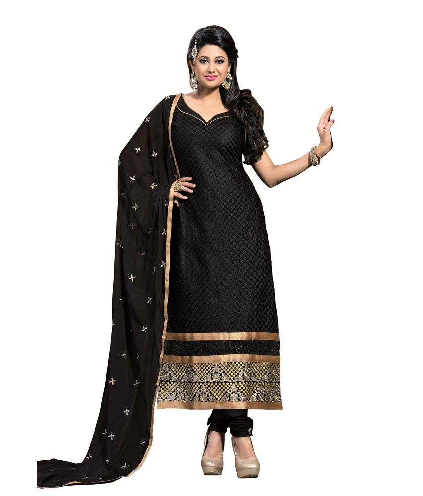 Maruti dress material black cotton embroidered kantha