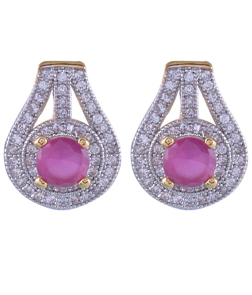 Nimbark Traders Brass And Metal Red Color Designer Earrings For Women