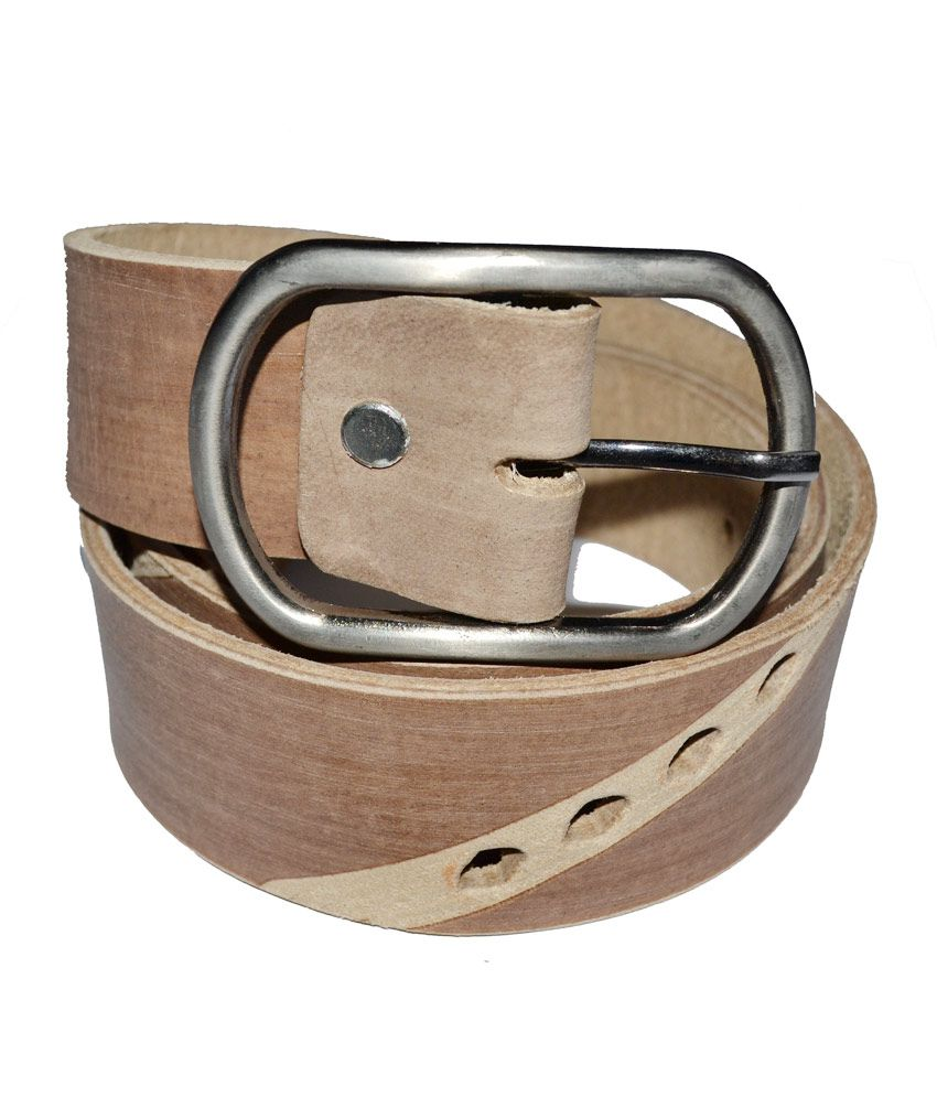 Cuero Beige Colour Genuine Leather Belt(lbe-131)