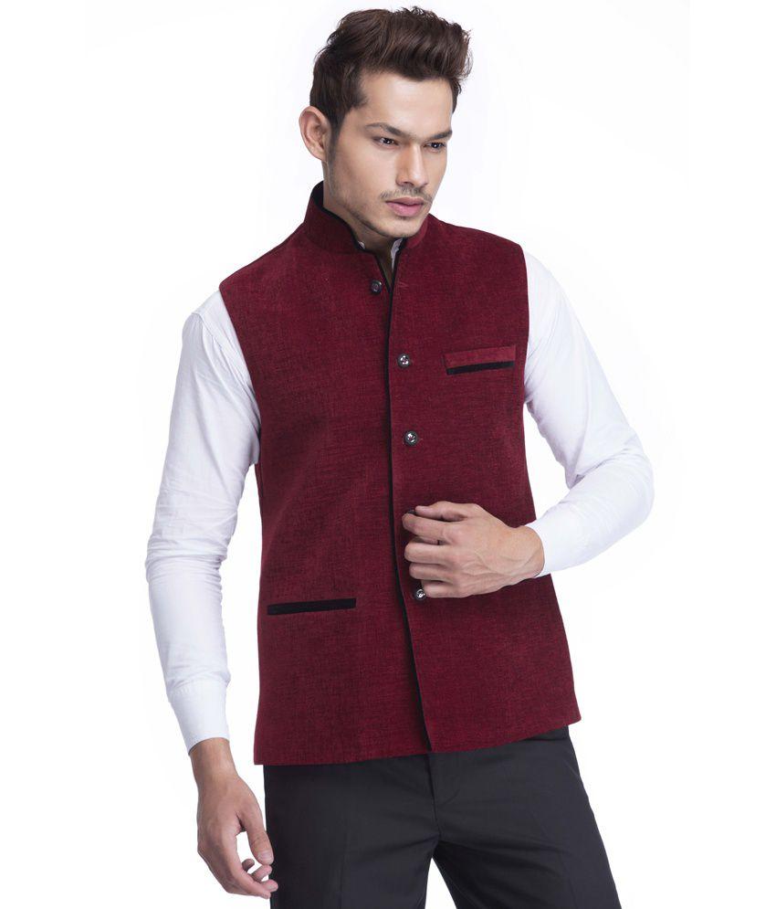 Platinum Studio Maroon Solid Men's Waistcoat
