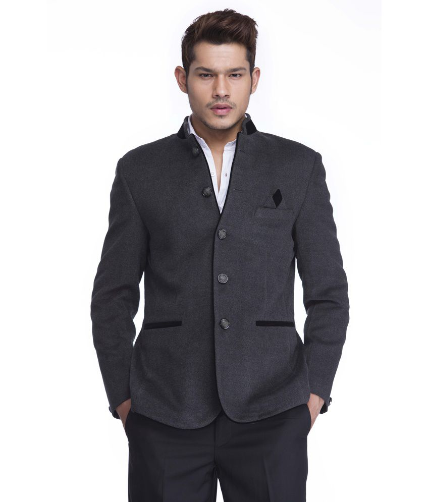 Platinum Studio Solid Grey Casual Men's Blazer