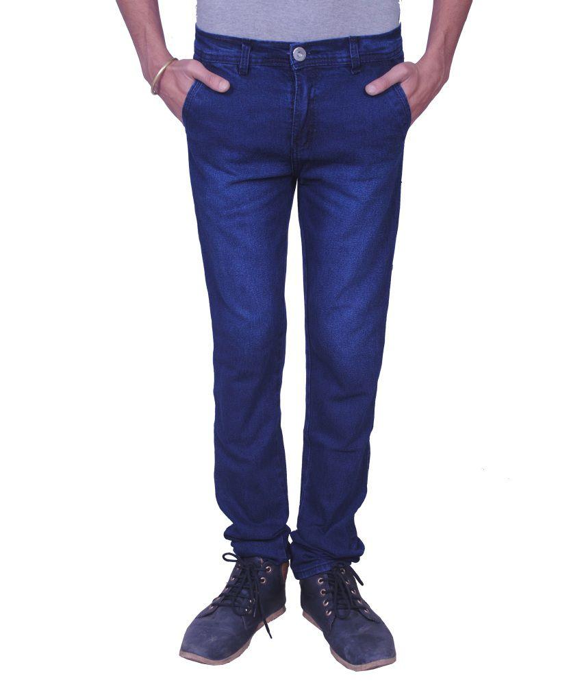 Fine Gold Fashion Narrow Fit Dark Blue Jeans