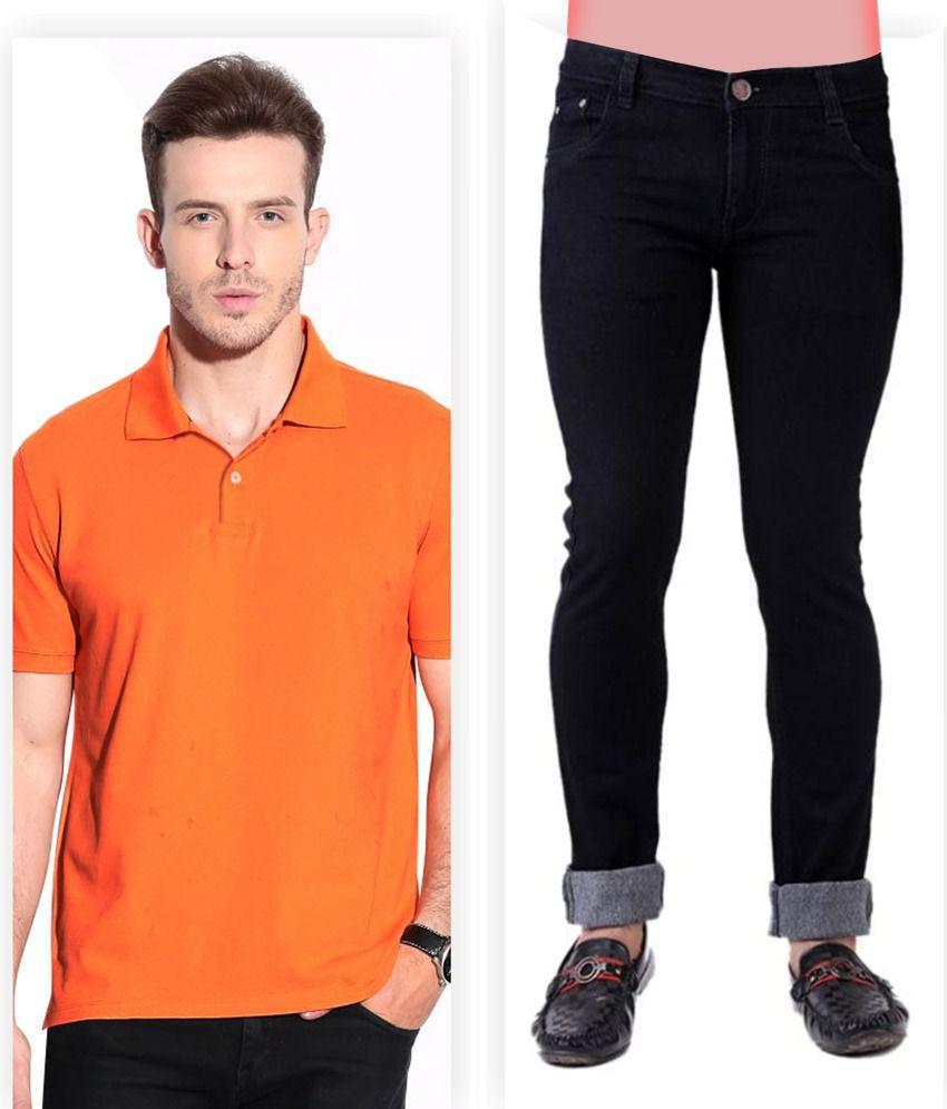 Haltung  Black Jeans & Orange Polo T Shirt Combo