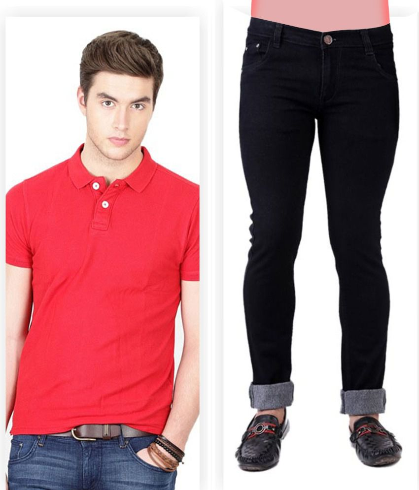 Haltung  Black Jeans & Red Polo T Shirt Combo