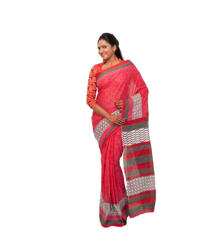 Kashvi Pink Cotton Saree