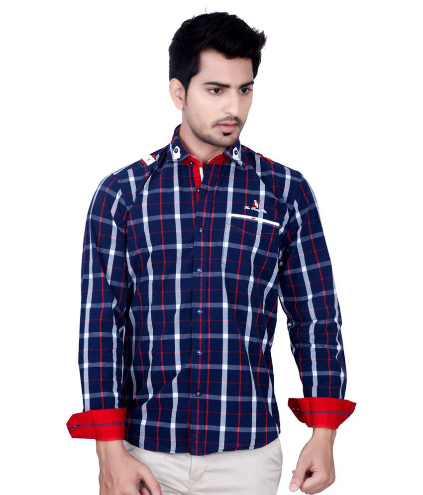 06cb0e8c7ec Kivon Men Navy   Red Slim Fit Casual Shirt With Cap - Buy Kivon Men Navy    Red Slim Fit Casual Shirt With Cap Online at Best Prices in India on  Snapdeal