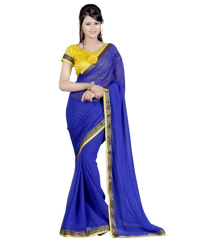 Fashiondeal Blue Chiffon Saree