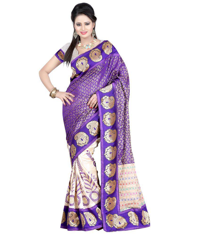 Fashiondeal Purple Silk Saree