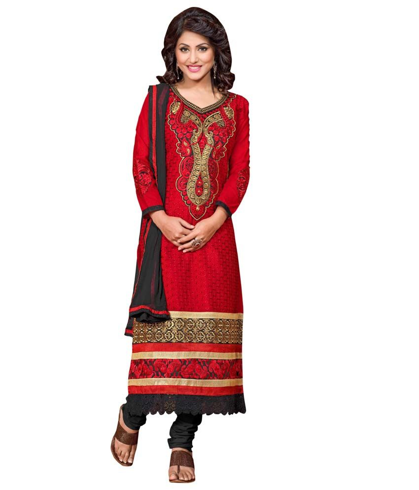 Morli Red Cotton Semi-Stitched Embroidered Dress Material