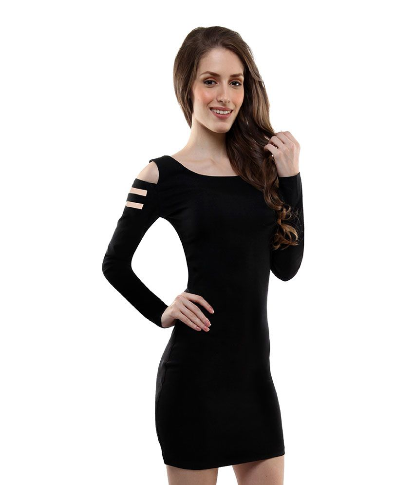 Miss Chase Black Cotton Mini Bodycon Dresses For Women Full Sleeve Round  Neck Party Wear - Buy Miss Chase Black Cotton Mini Bodycon Dresses For Women  Full ... 72538e7e1