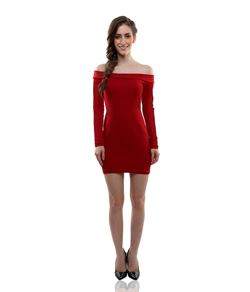 5bb33a4e3029 ... Miss Chase Red Mini Bodycon Dresses For Women Full Sleeve Party Wear ...