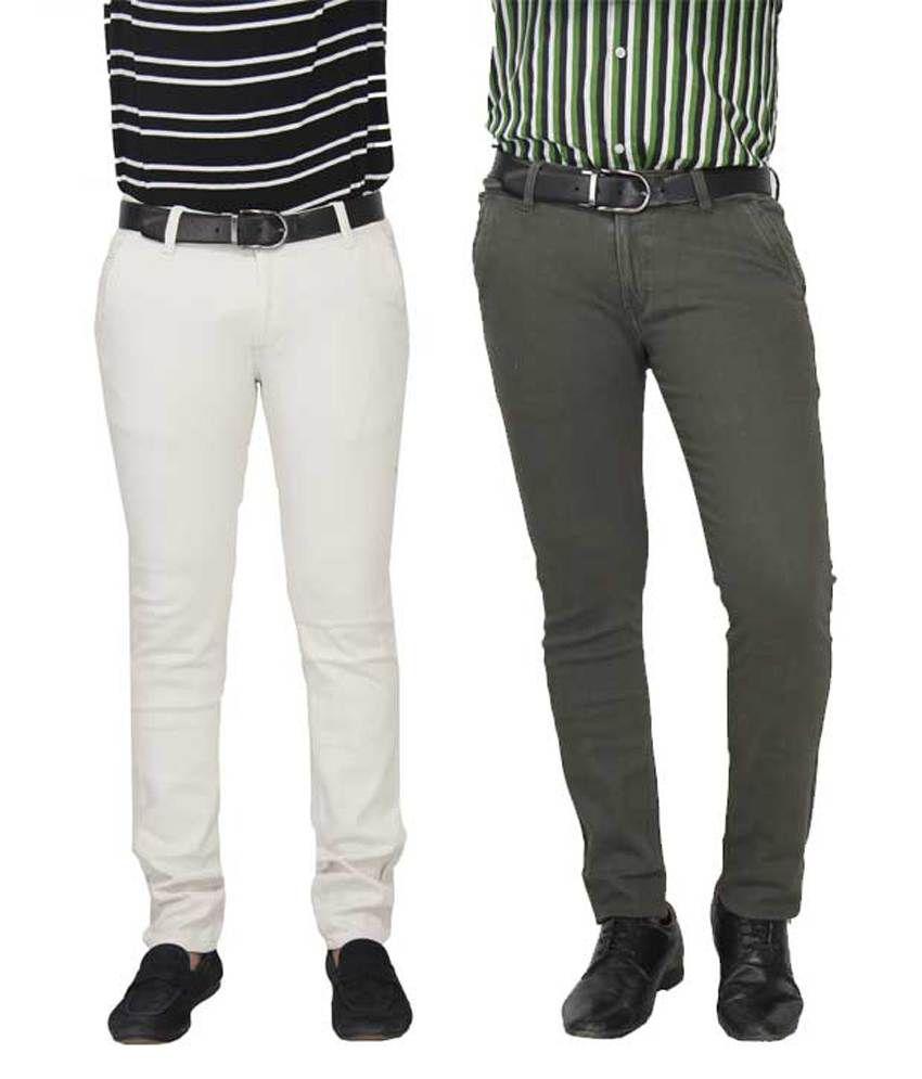 Fashion N Style Grey & White Cotton Lycra Slim Fit Trouser For Men - Set Of 2