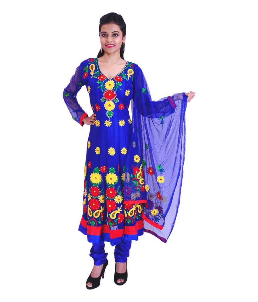 Krazzy Collection Blue Embroidered Net Anarkali Stitched Salwar Suit