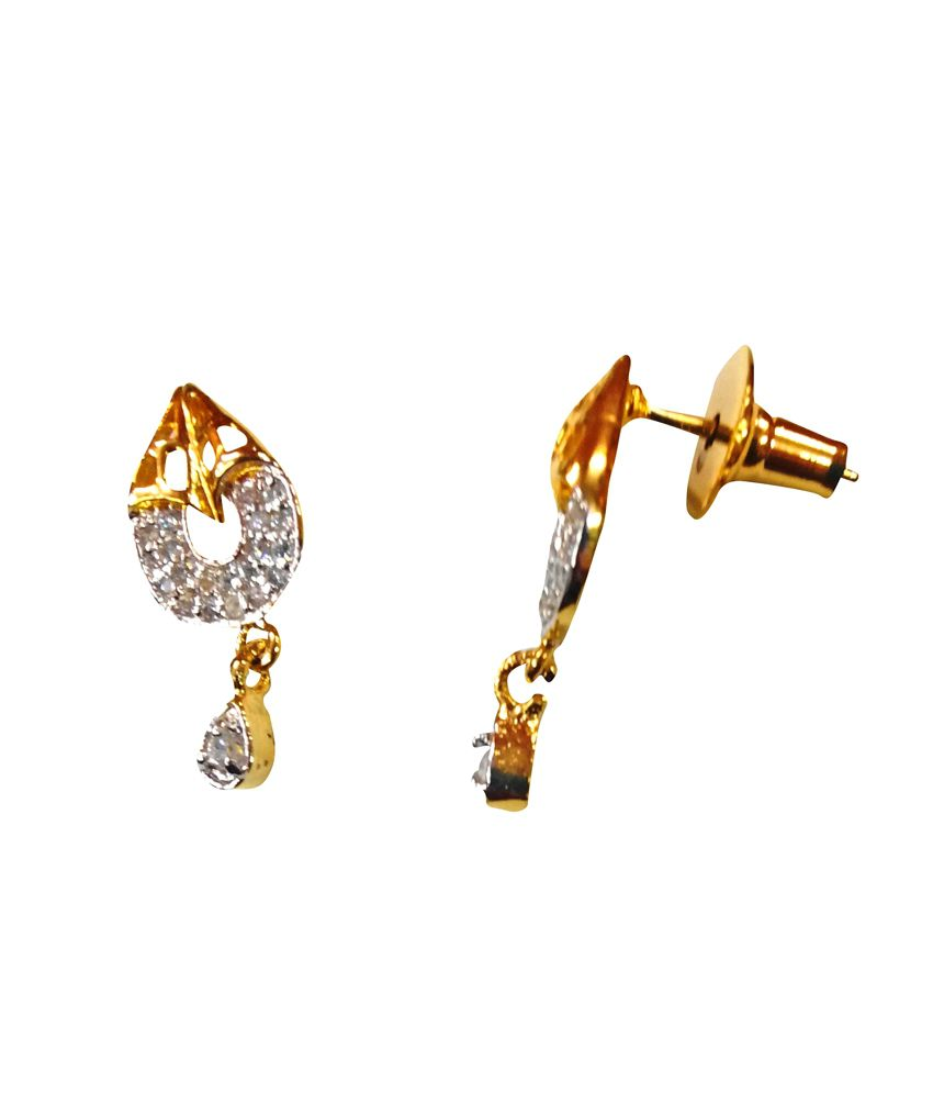 3b1acf233 ... Gold American Diamond Daily Wear Stud Earrings - Buy Nk Gems Gold  American Diamond Daily Wear Stud Earrings Online at Best Prices in India on  Snapdeal