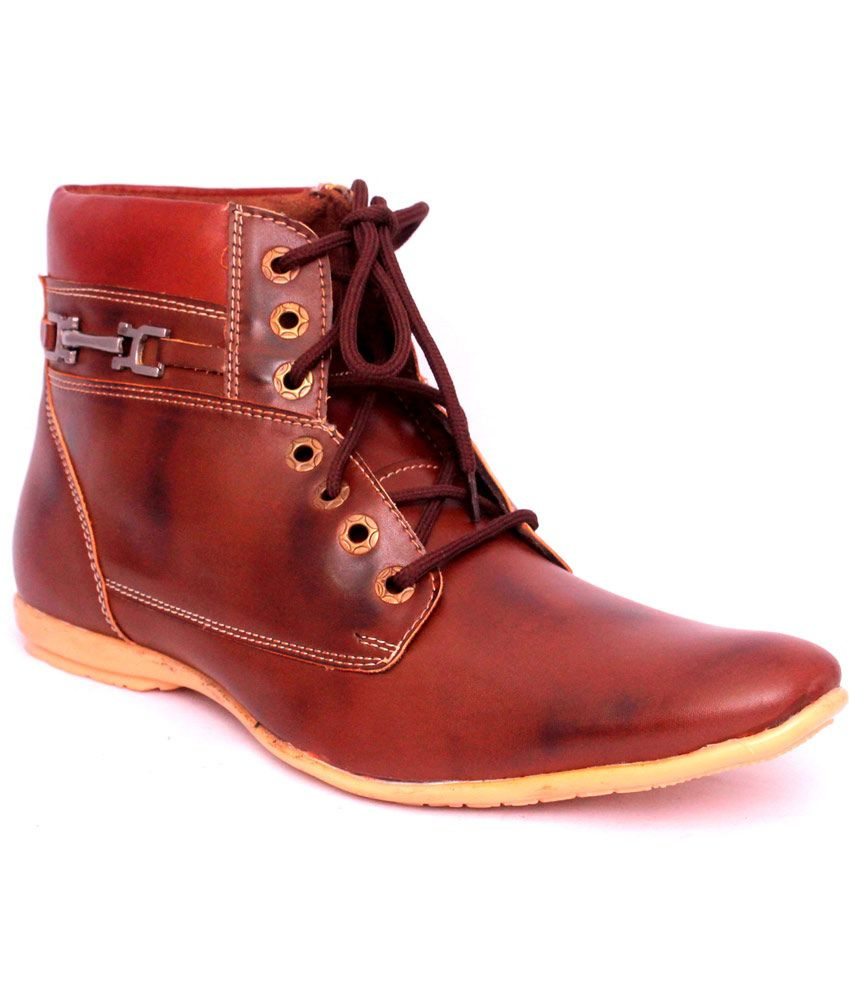 Nysap Brown Synthetic Leather Daily Lace Boot