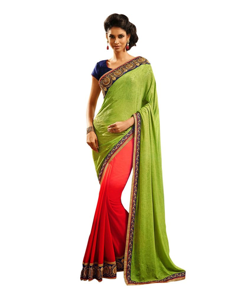 Queen's Turquoise Jacquard Pure Georgette Saree With Blouse Piece