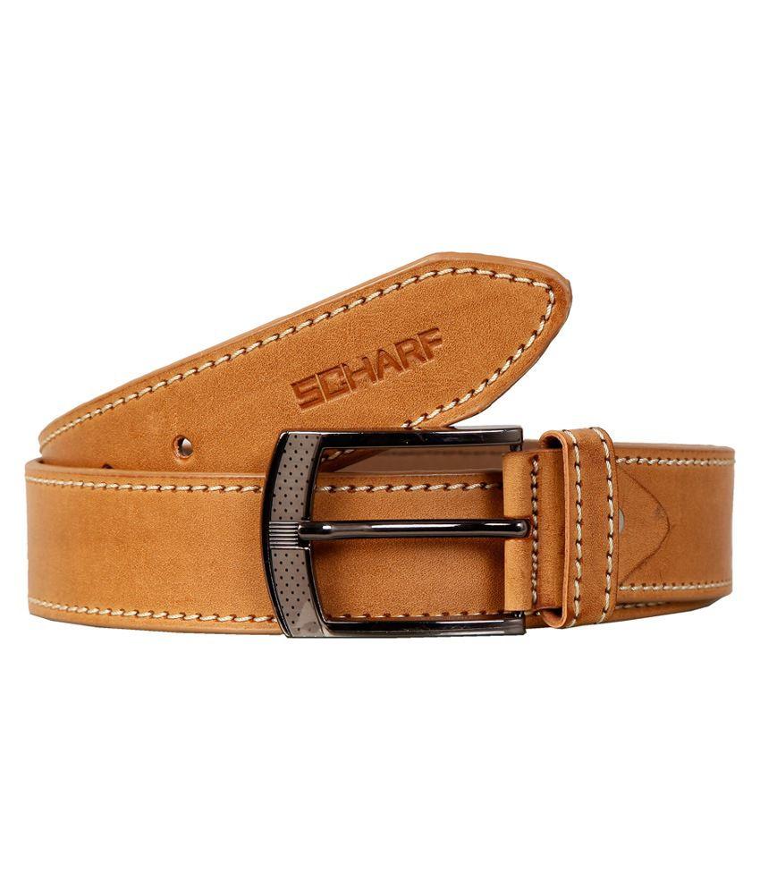 Scharf Premium Quality Tan Non Leather Casual Belt For Men