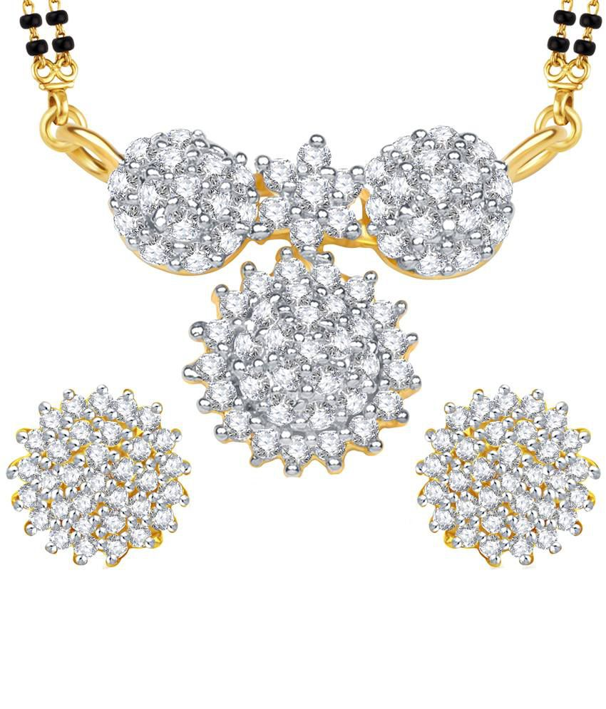 Vk Jewels Sparkles Gold And Rhodium Plated Mangalsutra Pendant Set With Earrings