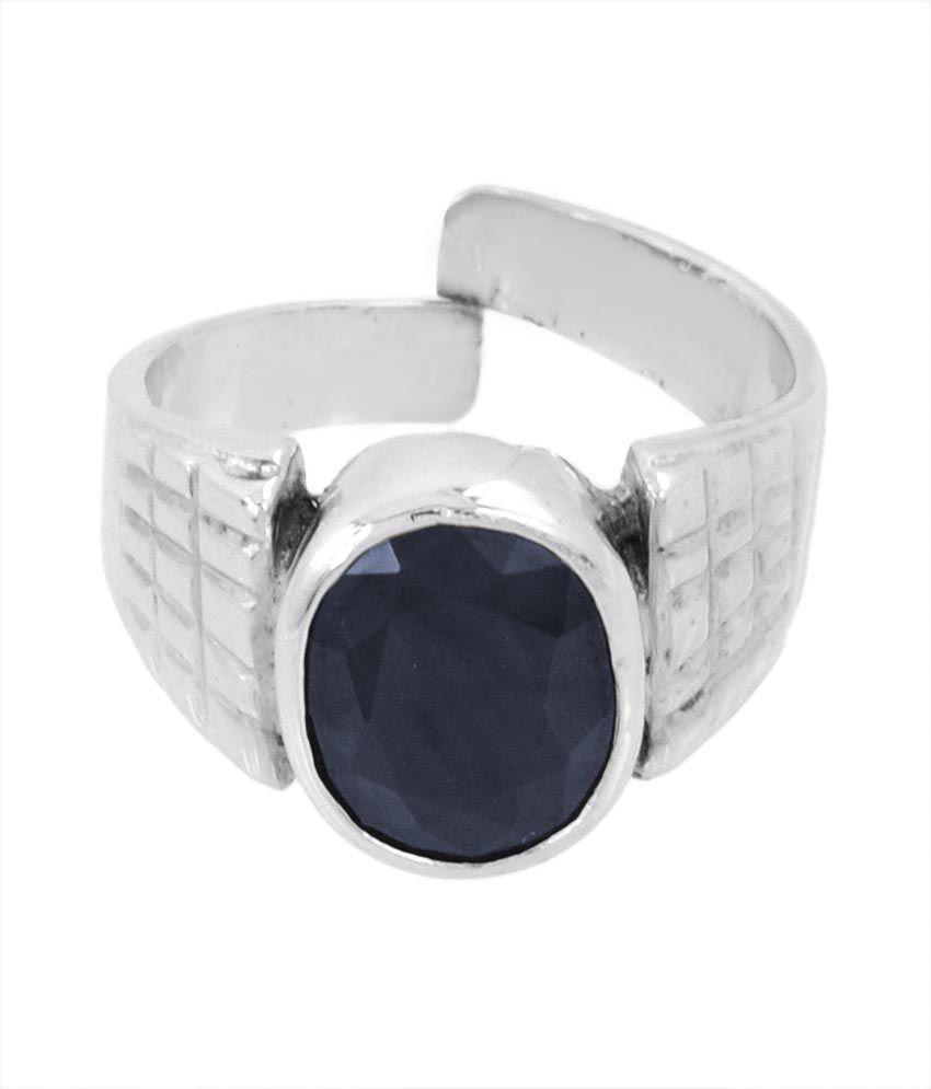Bello 9.25 Ratti Certified Neelam Gemstone Men's Ring In 925 Silver