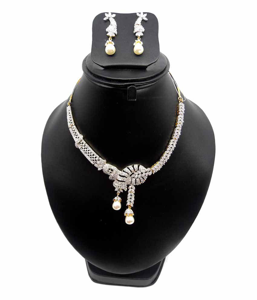 Bling N Beads American Diamond Zircon Necklace Set