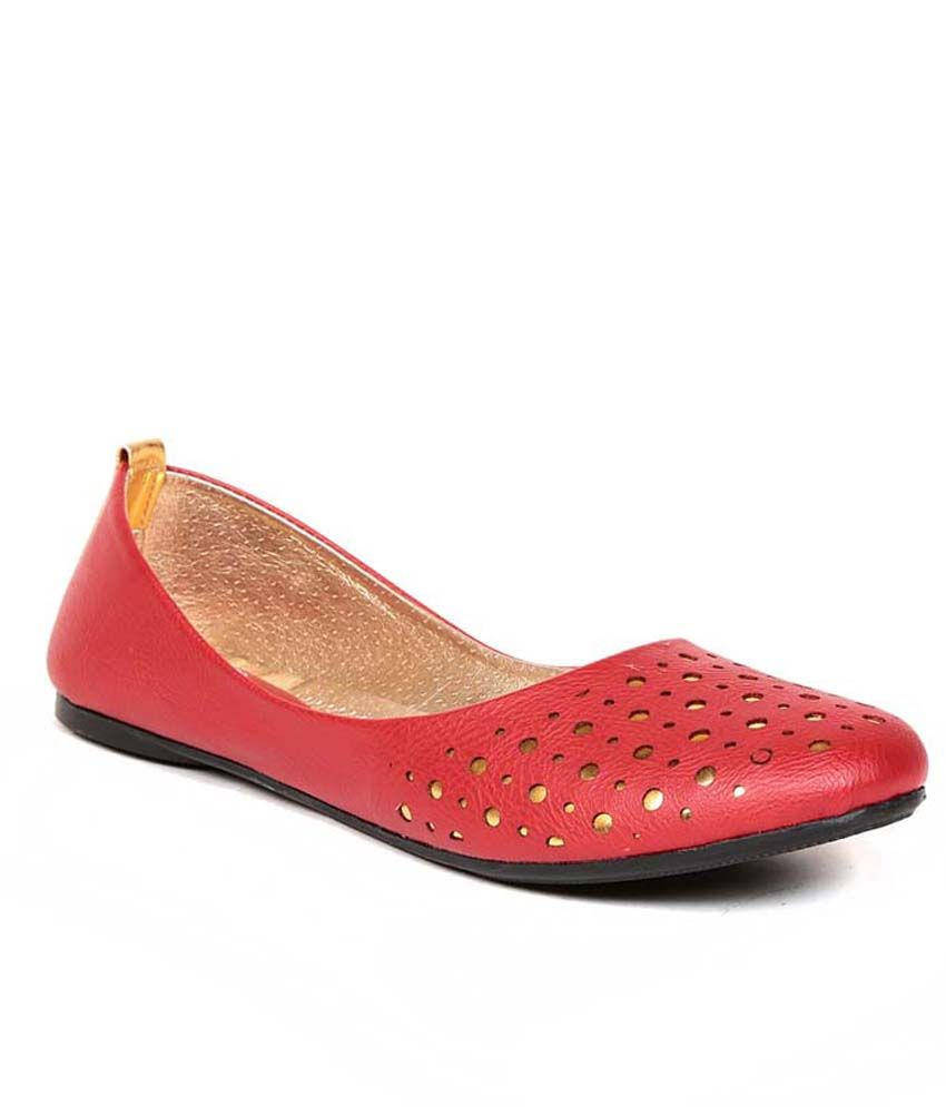 Eadams Red Flat Net Slippers