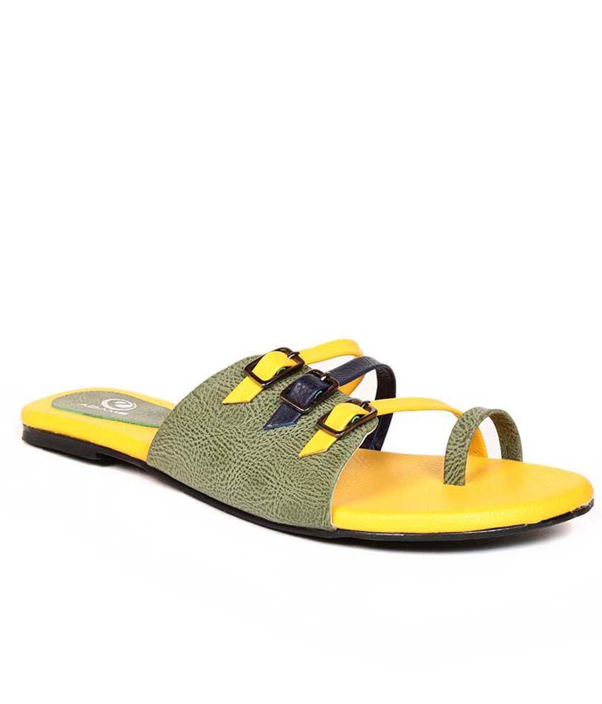 Eadams Yellow Flat Net Slippers