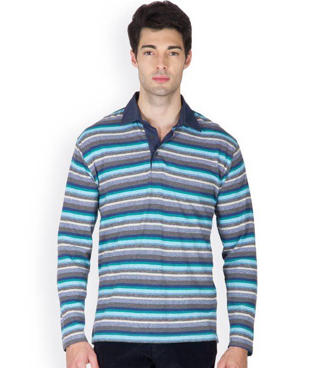 Hypernation Blue and Black Color Henley Neck Cotton Full Sleeves T-shirts For Men