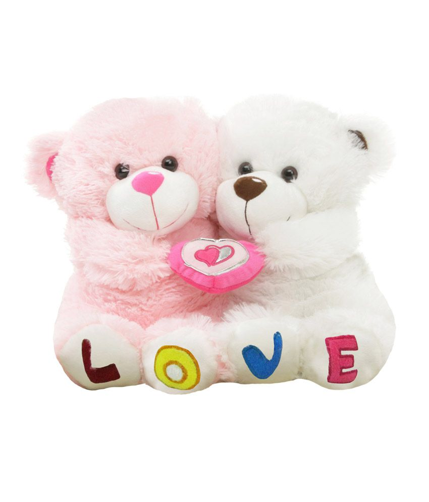 Toys And Love : Tabby toys white and pink cute love couple teddy bear